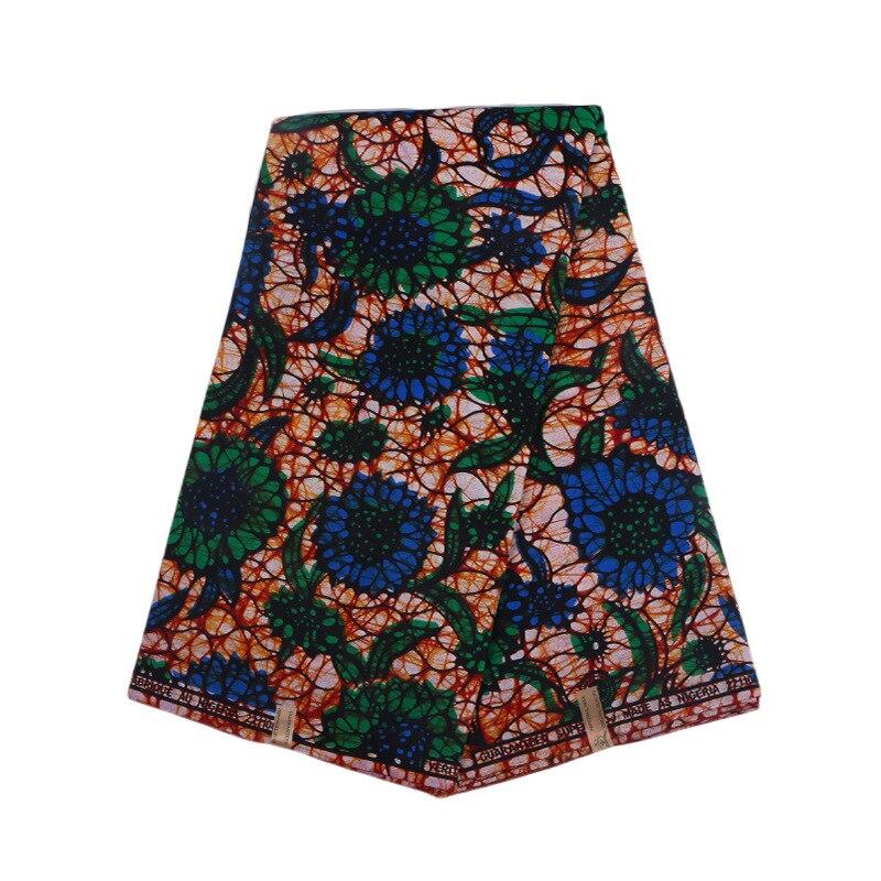 African Fabric African Blue & Green Flowers Print Fabric Wax Real Dutch Wax
