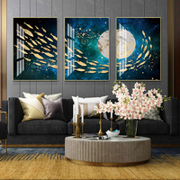 Deep sea Fish group Creative 5D Painting Abstract Crystal Porcelain Painting Living room Art wall decoration Home decor