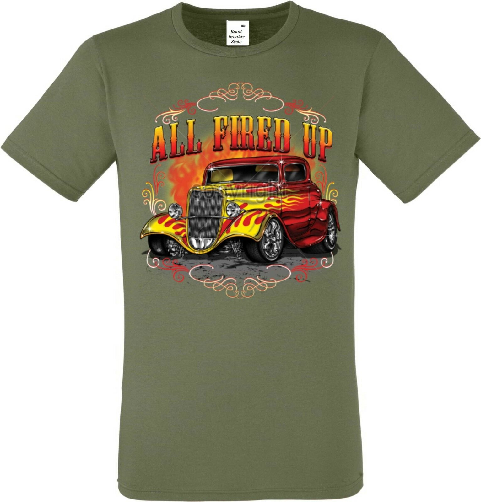T Shirt in orange mit einem Hot Rod-/&`50 Stylemotiv Modell Old School Muscle