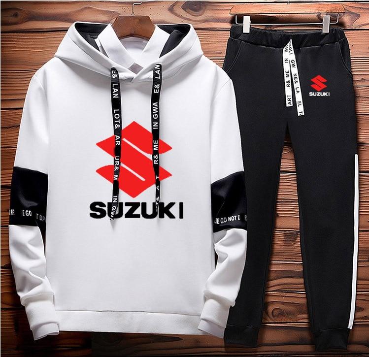 Hoodies Men Suzuki Car Logo Printed Unisex Sweatshirt Fashion Men Hoodie+Pants 2Pcs Sporting Suit Fleece Warm Thick Sportwear