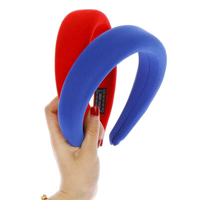 ผู้หญิงฟองน้ำแถบคาดศีรษะเบาะ Hairbands กว้างผม Hoop อุปกรณ์เสริม Headpiece