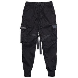 Image 4 - Hip Pop Cargo spodnie męskie z czarnymi kieszeniami Harem biegaczy Harajuku spodnie dresowe dorywczo mody męskie spodnie Streetwear spodnie dresowe Hombre