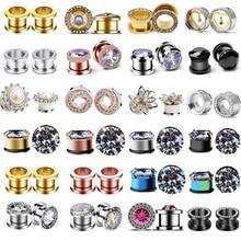 Brincos de piercing em aço inoxidável, 2 peças de plugue e túnel, tampão de ouvido, medidor de brinco, zircônia