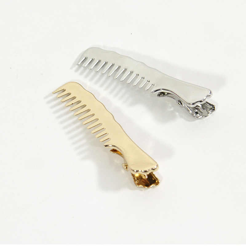 1PC Korean Vintage Girls Cute Small Comb Shape Hair Clip Duckbill Gold Silver Colors Hairpin For Women Headband Hair Accessories