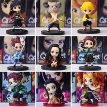 2/3/4/5/6/adet iblis avcısı Nezuko Zenitsu Tanjirou Giyuu Inosuke Q Ver. Aksiyon figürleri Kimetsu hiçbir Yaiba Anime PVC heykelcik oyuncaklar