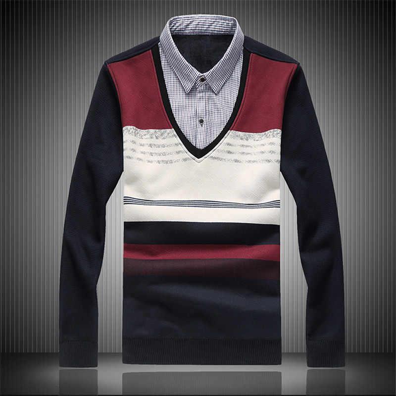 Maglione Degli Uomini di Inverno di Grandi Dimensioni Falso in Due Pezzi Maglione Cappuccio Più di Velluto di Spessore Caldo Maglione Casuale Degli Uomini Della Camicia collare di Spessore Maglione