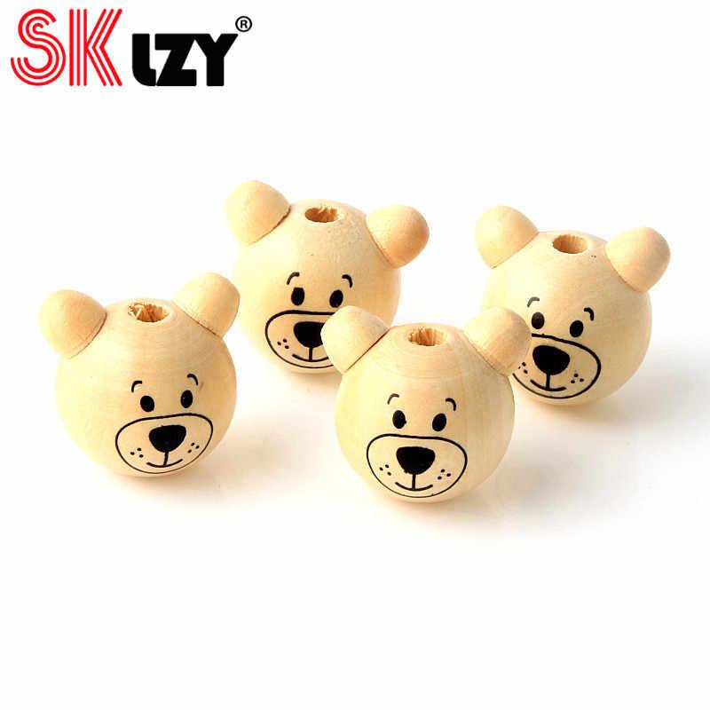 5 pçs 25x29mm 3d urso cabeça em forma de contas de madeira diy bebê chupeta cadeia espaçador contas crianças brinquedos fazendo jóias miçangas