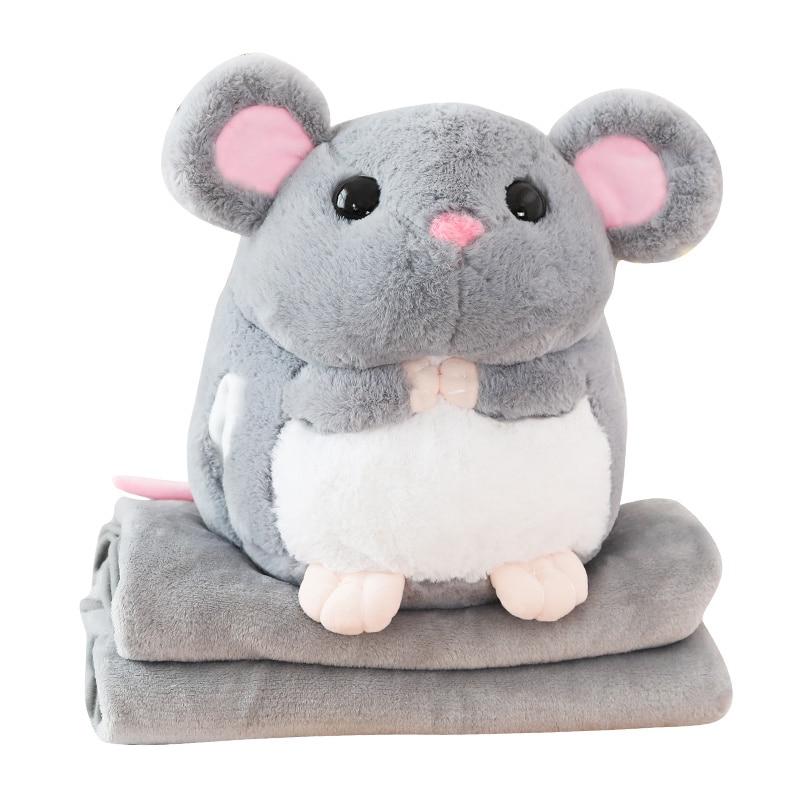 Sleep Pillow Super Soft Plush Mouse Plushie Doll Stuffed Rat Hands Warmer Blanket Plush Animal Toy Mascot Peluche For Children