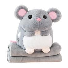 Almofada do sono super macio pelúcia mouse plushie boneca recheado rato mãos mais quente cobertor de pelúcia animal brinquedo mascote peluche para crianças