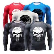 New Rashgard Men Gym Fitness Sport T-shirt 3D Printed Long Sleeve Compression Tights Running Shirt Punisher Workout Training Top new running shirt men bodybuilding sport t shirt long sleeve compression shirts gym t shirt men fitness tight rashgard top