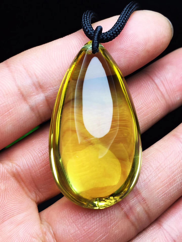 Citrine naturelle Quartz jaune 44x24x19mm cristal pendentif pierres précieuses femmes goutte d'eau riche pierre mode collier AAAAA