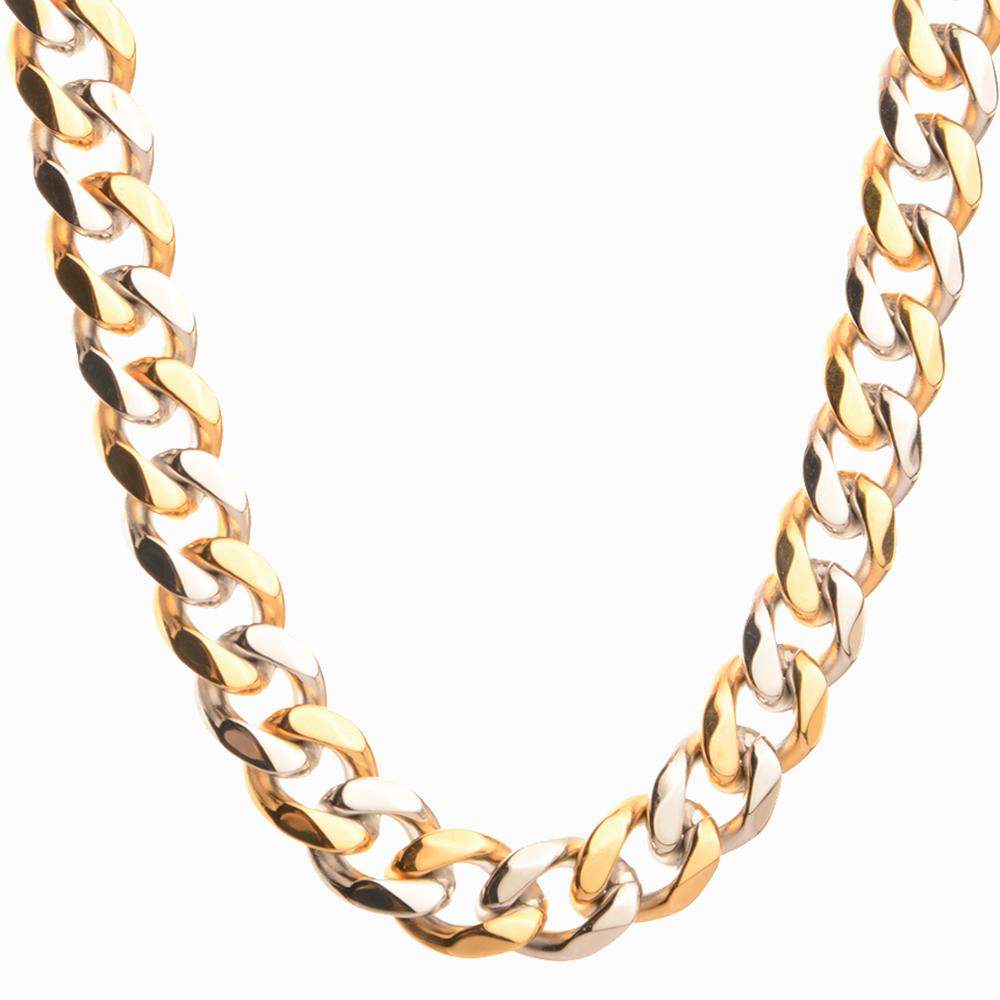 Granny Chic Mens Stainless Steel Cuban Link Chain Necklaces Silver Gold Color Curb Necklace For Men 10mm 16-32 Hip Hop