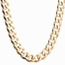 Granny Chic Men's Stainless Steel Cuban Link Chain Necklaces Silver Gold Color Steel Curb Necklace For Men 10mm 16