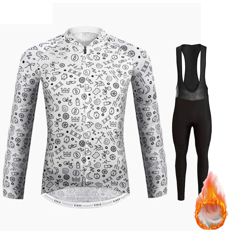 Raphaing Cycling 2019 Winter Warm Fleece Jersey Bib Trousers Suit Ropa Ciclismo Invierno Bicycle Men's Triathlon Tights Jersey