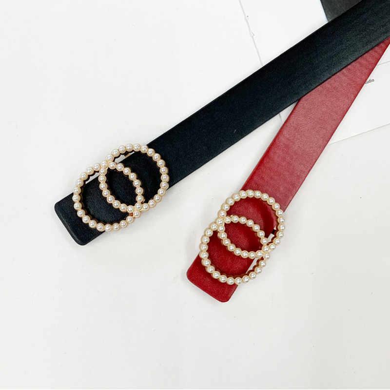 حزام جلد الموضة حلقة مزدوجة دائرة مشبك حزام النساء الخصر أسود أحمر أحزمة jeans فساتين امرأة الفتيات اللؤلؤ رصع