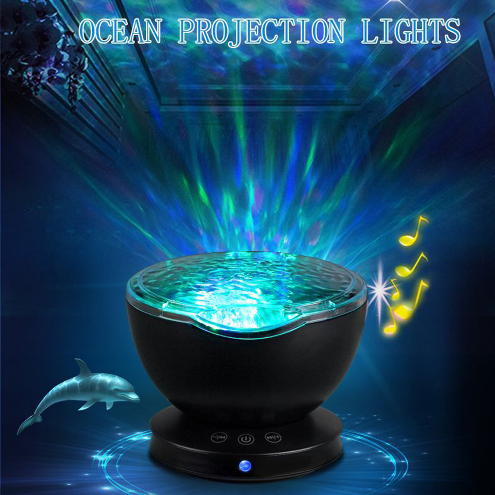 Remote Control Night Light Projection Lamp Music Light 7 Color Rotation USB Charging Party Bedroom Projection Lamp Decoration