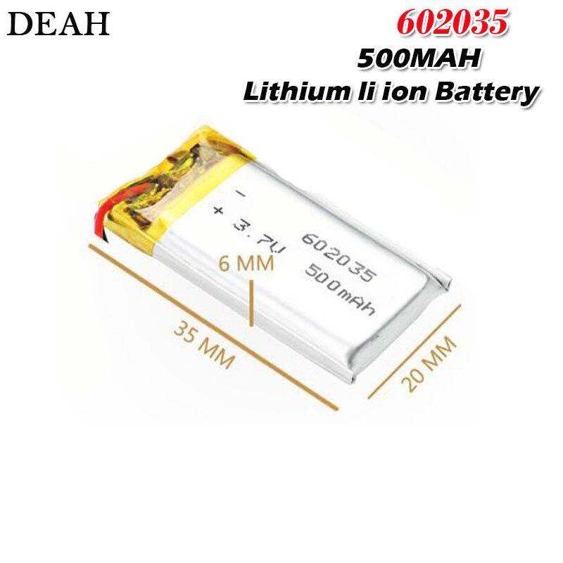 Bateria recarregável 3.7 do polímero do íon do lítio de 500 v 602035 mah 602035 para a bateria do fone de ouvido do bluetooth do tacógrafo do carro de dvr gps