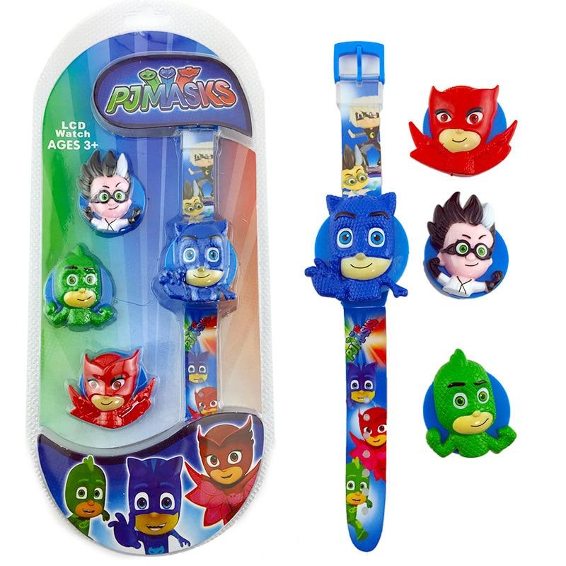 Pj Masks Original Watch Anime Figure Toy Cute Flip Cover LED Watch Action Figures New Cartoon Watch
