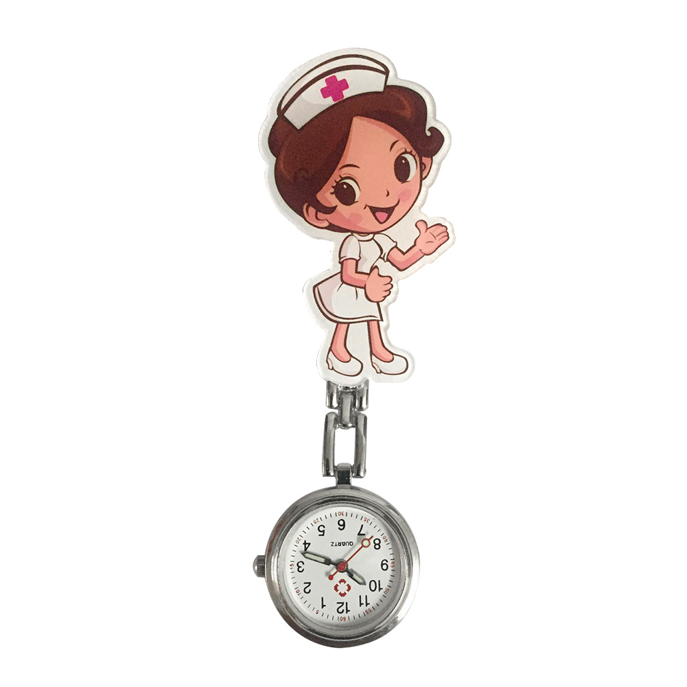Women Gift Lapel Hanging Pin Buckle Quartz Medical Cute Cartoon Portable Fashion Clip Round Dial Nurse Watches With Link Durable