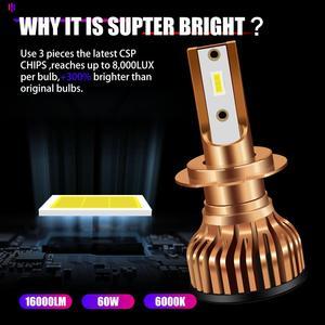 Image 2 - Auto H7 faro led Mini H11 luz LED H4 LED H1 9005 9006 HB3 HB4 H13 9004 9007 lámpara de coche 16000LM 6500K de baja Luz De Carretera Turbo