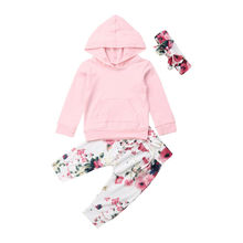Newborn Baby Girl Clothes Autumn Outfits Long Sleeve Hooded Sweatshirts Pocket  Tops + Floral Long Pants + Headband 2PCS Sets floral baby girl clothes set long sleeve tops hoodies pants 2pcs outfits sets 2018 autumn newborn baby girls clothing outfit
