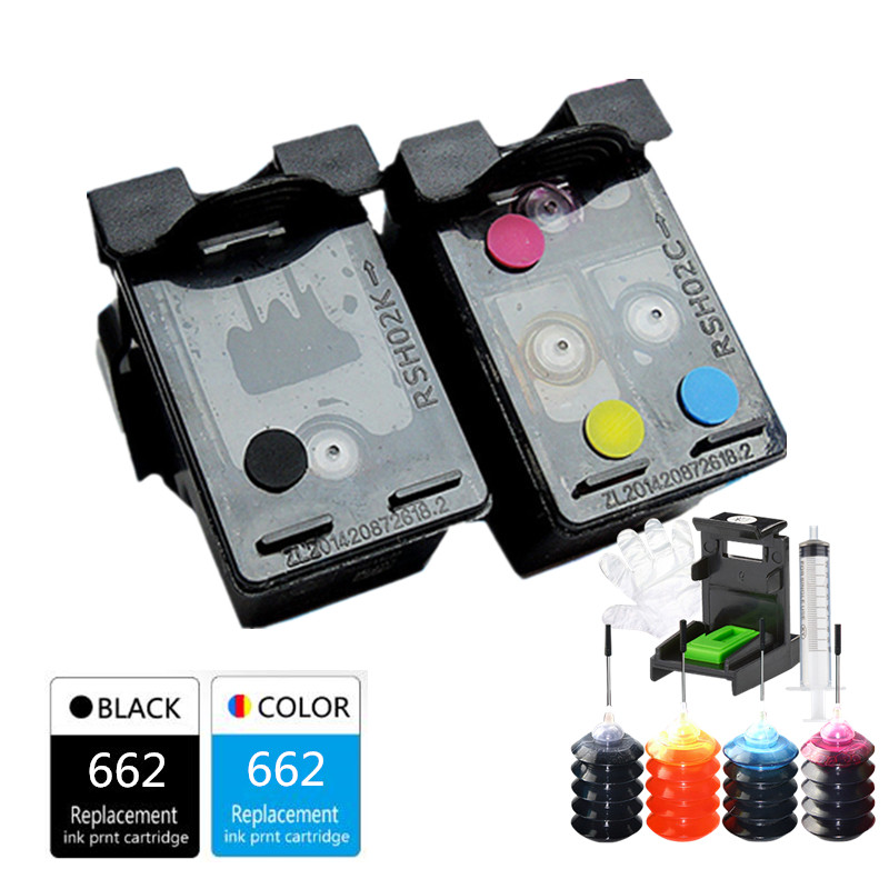 Large Capacity Ink Space 662 Refillable Ink Cartridge For HP Deskjet 1515 1015 1018 1518 2645 3545 2648 2515 2548 3548 4518 2648