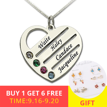 XiaoJing Personalized 925 Sterling Silver Heart Necklace Engraved Name Pendant Necklaces fashion Jewelry For Mother Gift 2019