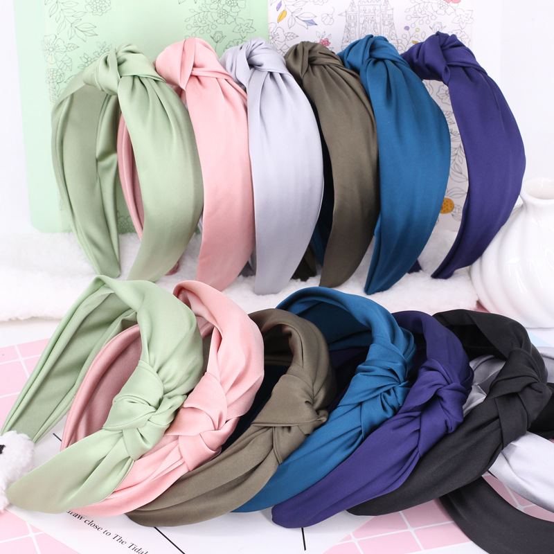 Bohemian Colored Satin Knotted Headband  Knot Hairband For Women Girls Hair Accessories Hair Jewelry