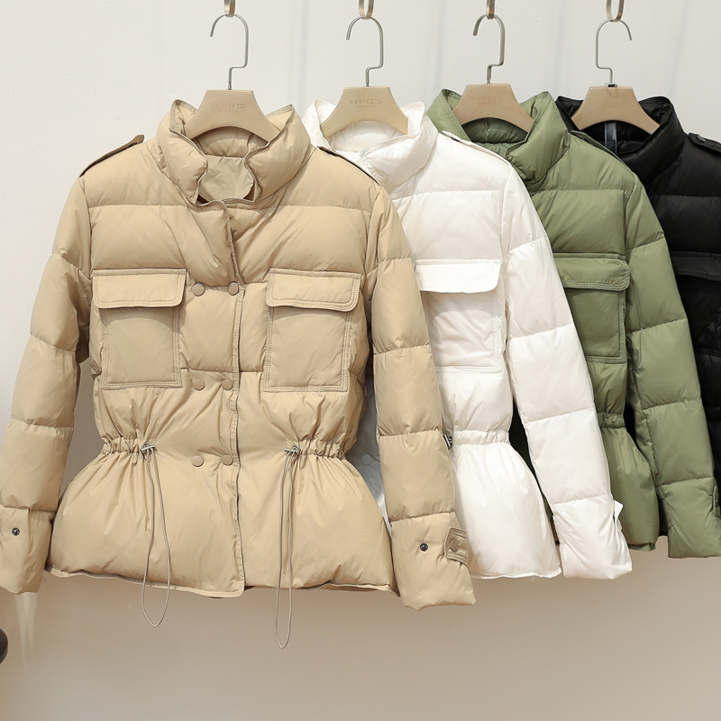 Women Lightweight Down Jacket 2020 New Autumn Winter Slim Stand Collar White Duck Down Coat Warm Double Breasted Outwear Parkas