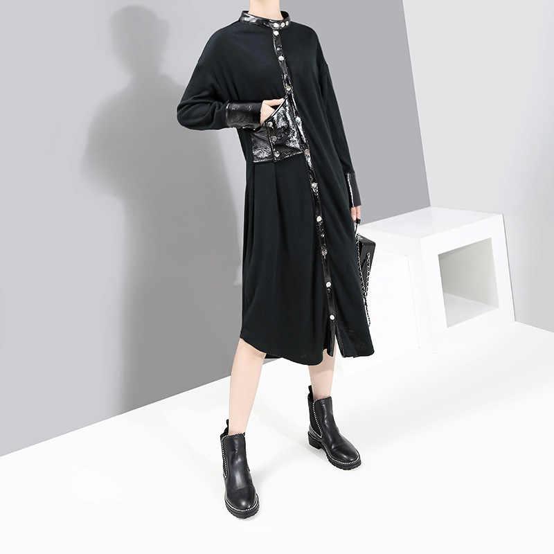[EAM] женский, черный из искусственной кожи Разделение платье футболка новый со стоячим воротником с длинным рукавом свободный крой модные тенденции Демисезонный 2019 1K475