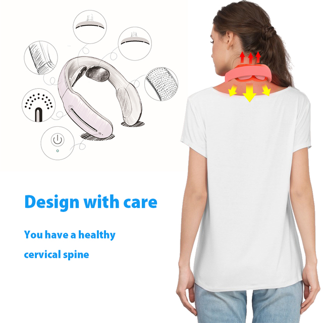 Smart Electric Neck and Shoulder Massager Low Frequency Magnetic Therapy Pulse Pain Relief Relaxation Vertebra Physiotherapy