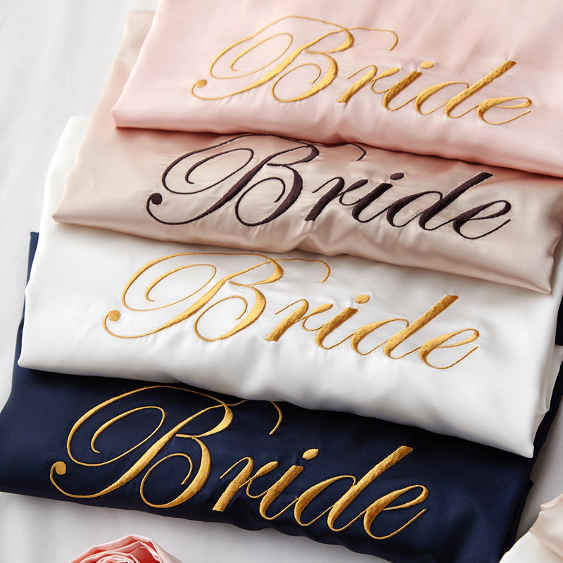 Embroidery Letter Bride Bridesmaid Wedding Robe Sexy Satin Kimono Gown Half Sleeve Intimate Lingerie Sleepwear Casual Lady