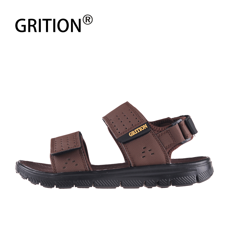 GRITION Men Beach Sandals Summer Flat Breathable Outdoor Shoes Lightweigh Open Toe Quick-drying Anti-skid Big Size Comfy Shoes