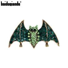 Baiduqiandu Merek Antik Goldcolor Logam Berlapis Hijau Rhinestones 2019 Viper Bat Bros Pin Fashion Perhiasan Aksesoris(China)