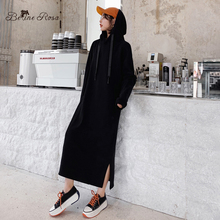 BelineRosa Minimalist Style Pure Color Plum Red Hooded Dresses Autumn Cotton Loose Long Hoodies TYFS0013