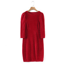 women party date shinny dress red color o-neck puff sleeve dress body dress Elegent women spring dress