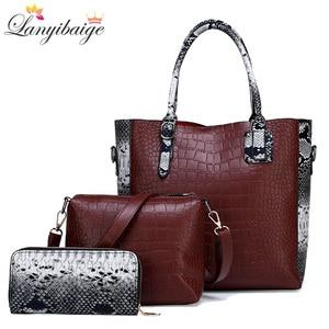 Image 1 - Luxurious 3 piece set women bag large capacity women handbag retro shoulder bags for lady pu leather crossbody bag with wallet
