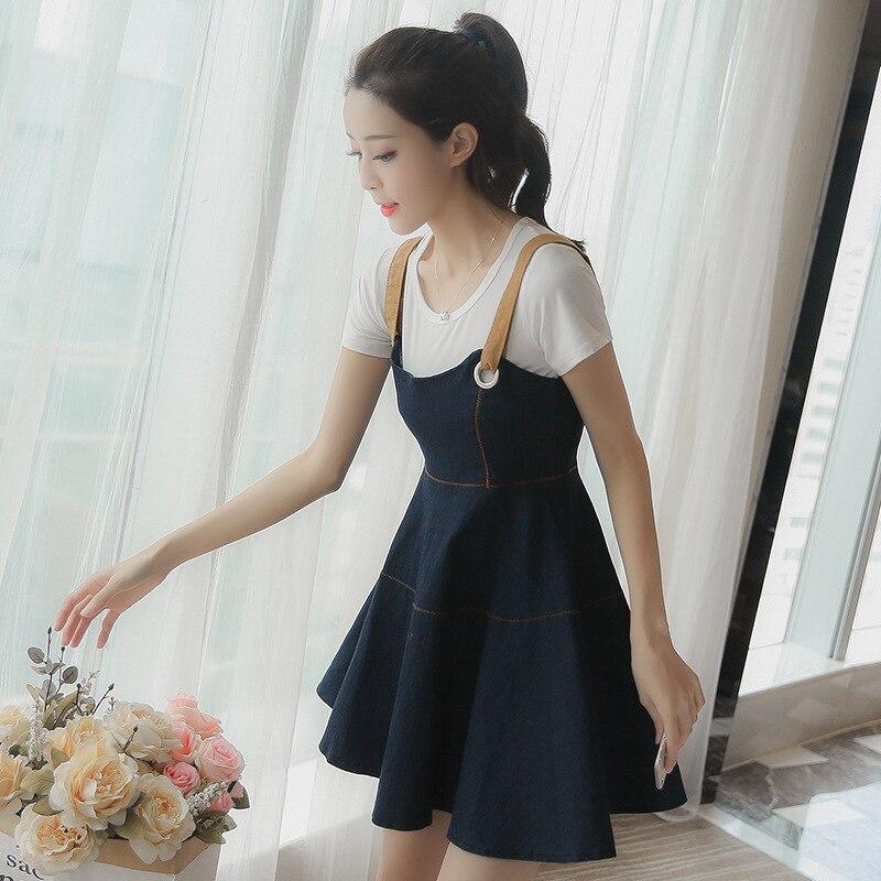 Summer Korean-style Cowboy Braces Skirt Short Sleeve T-shirt Two-Piece Dress