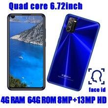 A90 smartphones 6.72 polegada tela 4g ram + 64g rom quad core 8mp + 13mp frente/voltar câmera android 6.0 telefones celulares celulares celulares celulares celulares desbloqueado