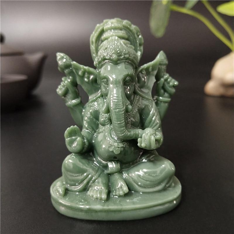 Ganesha Buddha Statue House Garden Decoration Indian Elephant God Sculpture Man-made Jade Stone Crafts Home Decor Buddha Statues