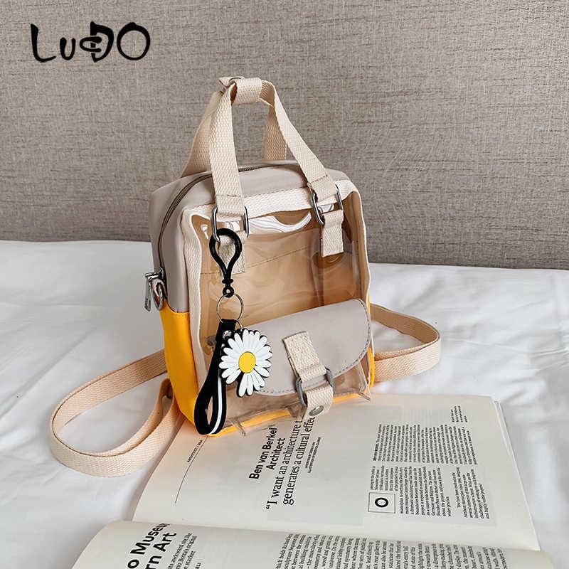 LUCDO 2020 Sommer Transparent Rucksack Weibliche Marke Große Kapazität Schule Tasche Für Mädchen Schulter Tasche Gelee Tasche