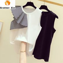 Sleeveless Tshirt Woman 2020 Summer Wear New Elegant Stripes Flounced Joint Sleeveless Crew Neck Tshirt Women's Casual Tee Tops(China)