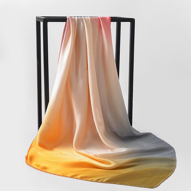 Square 90*90cm Women Big Bandana Hijab Head Satin Silk Scarves Shawl Art Scarf Gradient Stitching Color Business Neckerchief