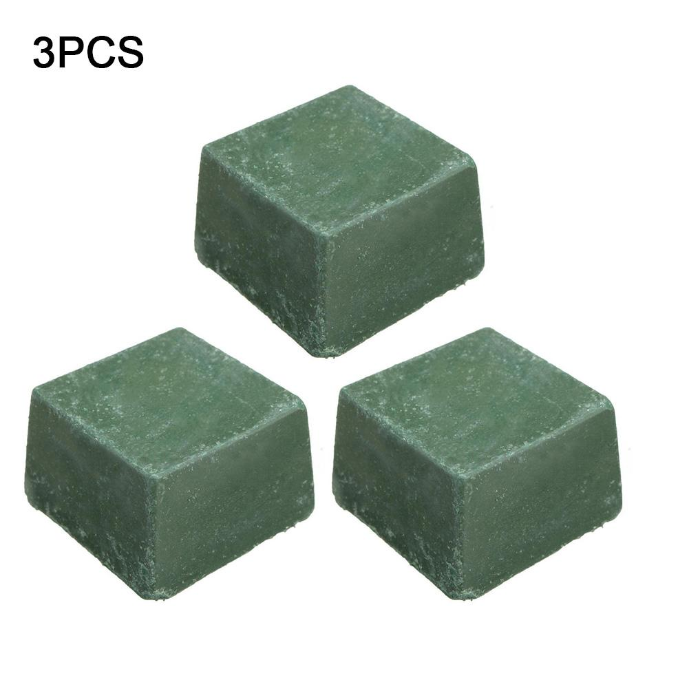 3PCS DIY Handmade Leather Sharpening Knife Green Sharpening Cream Wax Blade Grinding Leathercraft Tools 3cm X 3cm X 2cm