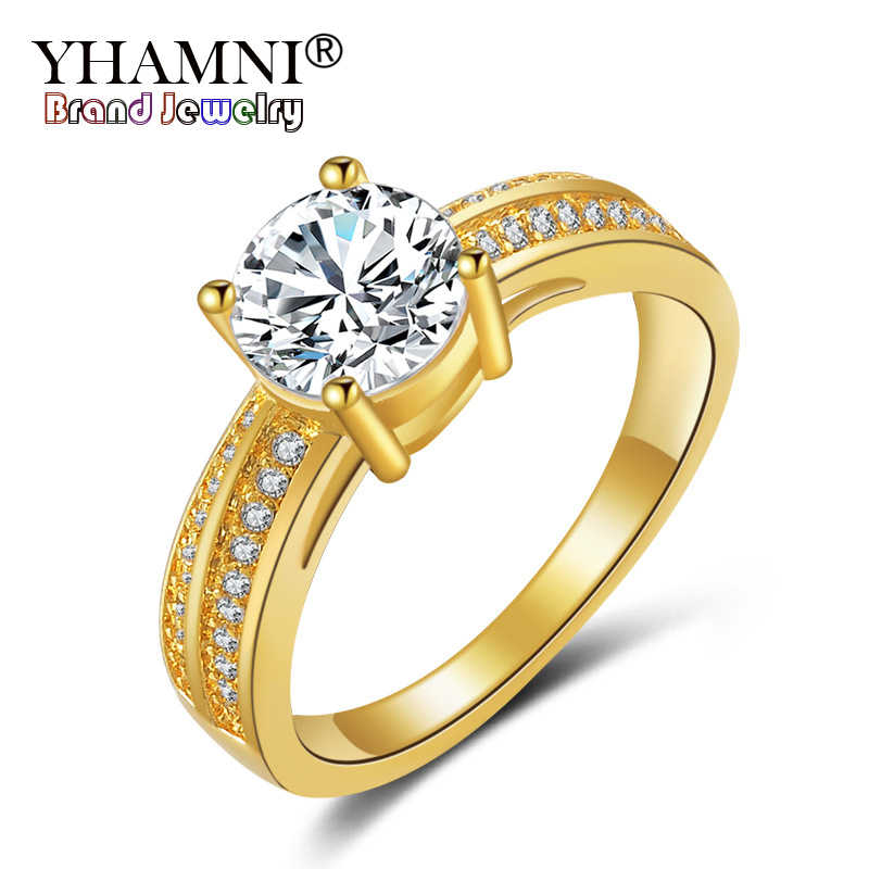 YHAMNI New Fashion Real 24K Yellow Gold Filled Engagement Ring Arrows 2 Carat CZ Diamant Zircon Wedding Rings For Women YH548