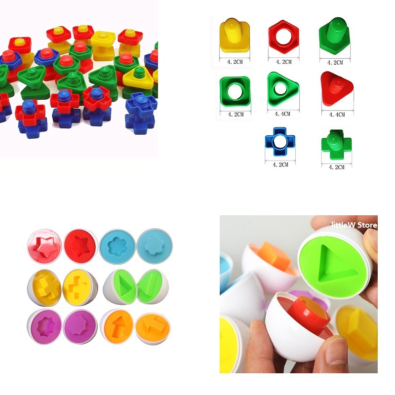 12PCS/set Montessori Learning Education Math Toys Smart Eggs 3D Puzzle Game For Children Popular Toys Jigsaw Mixed Shape Tools