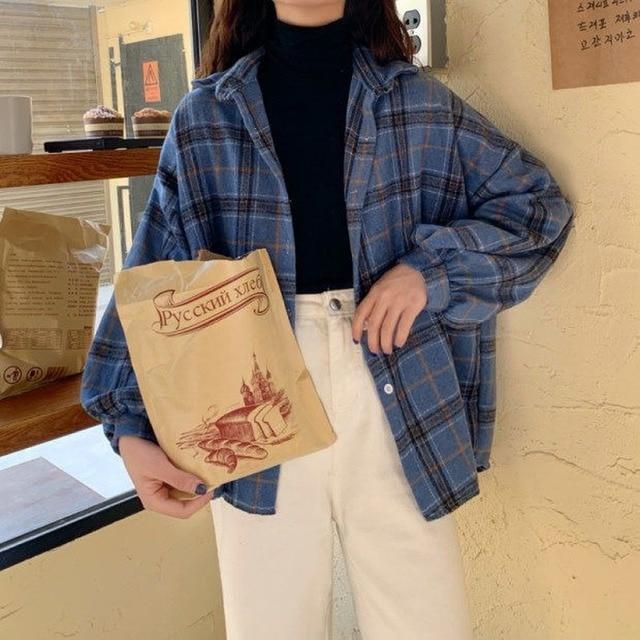 Women Plaid Warm Shirt Female Jacket Checked Coat Casual Turn-down Collar Long Sleeve Autumn Blouse Fashion Loose Outwear Tops 4