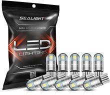 SEALIGHT-bombillas LED 194 6000K blanco 168 2825 T10 W5W 3030 Chips brillantes para Mapa de la luz del domo, luz de puerta, 10 Uds.