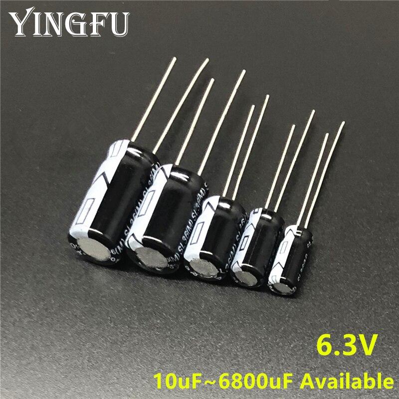 6.3V 10/22/33/47/100/150/220/330/470/560/680/820/1000/1200/1500/1800/2200/3300/3900/4700/6800uF Aluminum Electrolytic Capacitor