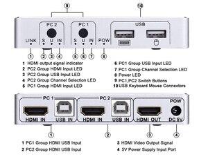 Image 2 - 2020 4K 60Hz KVM Switch HDMI 2 Port HDMI KVM Switch USB  PC Computer KVM Switch Keyboard Mouse Switcher Box for Laptop,PS4,Xbox